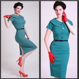 Bettie Page Teal Rita Wiggle Dress